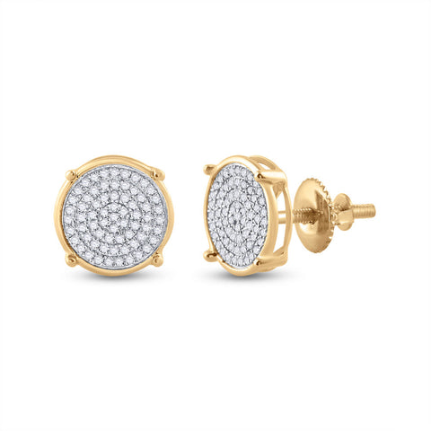 10kt Yellow Gold Mens Round Diamond Circle Disk Cluster Earrings 1/4 Cttw