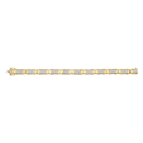 10kt Yellow Gold Mens Round Diamond Rectangle Link Bracelet 1-1/2 Cttw