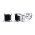 10kt White Gold Womens Princess Black Color Enhanced Diamond Solitaire Earrings 3/4 Cttw