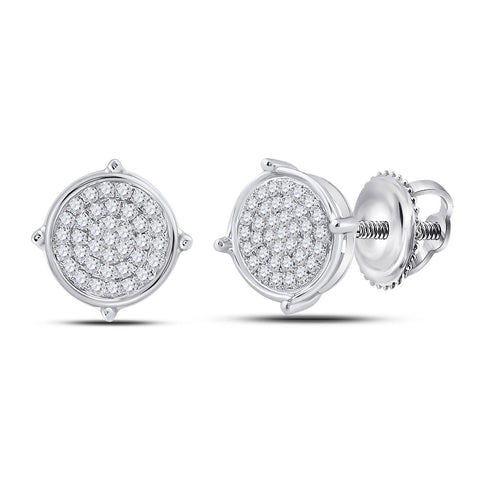 Sterling Silver Mens Round Diamond Disk Circle Earrings 1/8 Cttw
