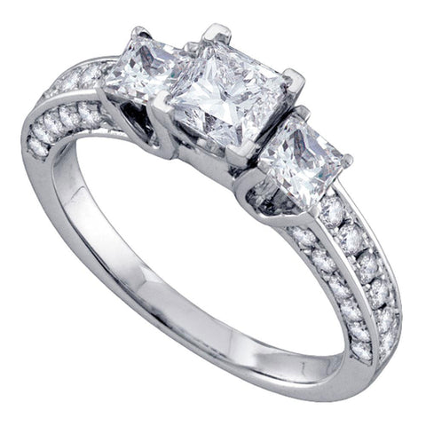 14kt White Gold Princess Diamond Princess Bridal Wedding Engagement Ring 1-1/2 Cttw