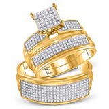 10kt Yellow Gold His Hers Round Diamond Square Matching Wedding Set 3/4 Cttw