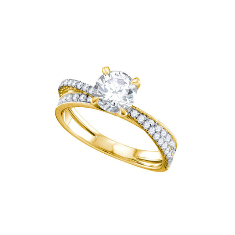14kt Yellow Gold Round Diamond Solitaire Bridal Wedding Engagement Ring 1-1/3 Cttw