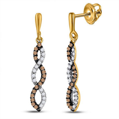 10kt Yellow Gold Womens Round Brown Diamond Twist Dangle Earrings 1/5 Cttw