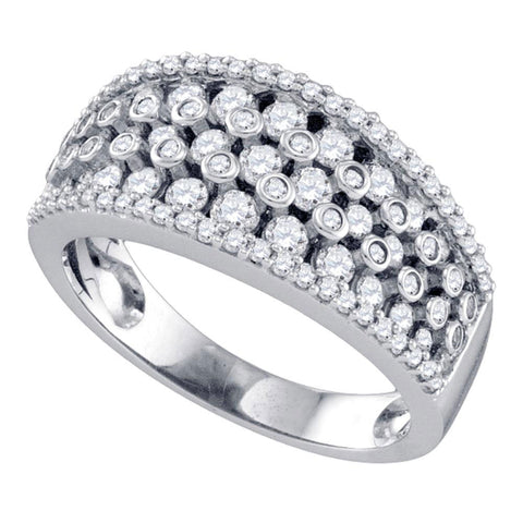 10kt White Gold Womens Round Diamond Band Ring 1 Cttw