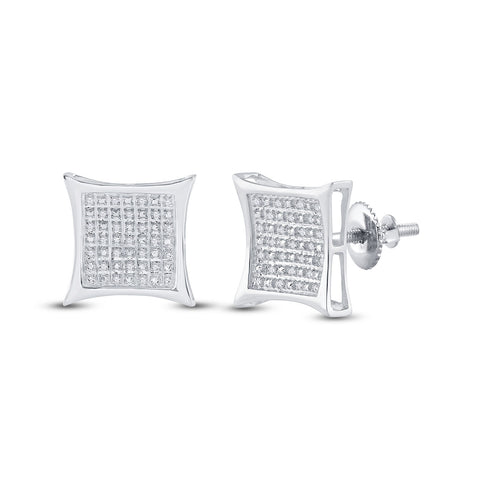Sterling Silver Womens Round Diamond Kite Square Earrings 1/5 Cttw