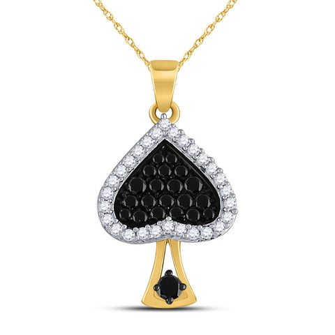 10kt Yellow Gold Womens Round Black Color Enhanced Diamond Spade Pendant 1/2 Cttw