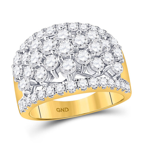 14kt Yellow Gold Womens Round Diamond Pave Flower Cluster Ring 3 Cttw