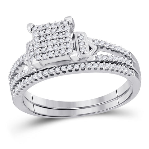 Sterling Silver Round Diamond Bridal Wedding Ring Band Set 1/3 Cttw