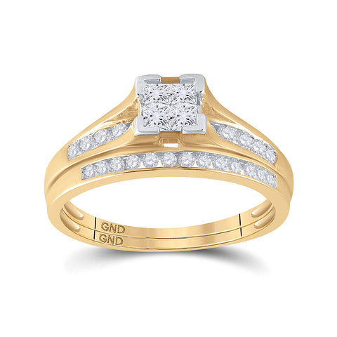 10kt Yellow Gold Princess Diamond Bridal Wedding Ring Band Set 1/2 Cttw Size 6