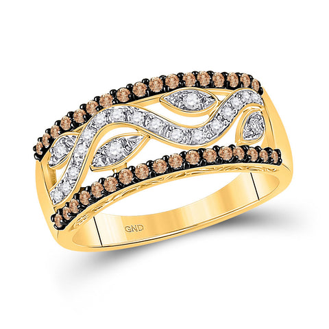 10kt Yellow Gold Womens Round Brown Diamond Band Ring 1/2 Cttw