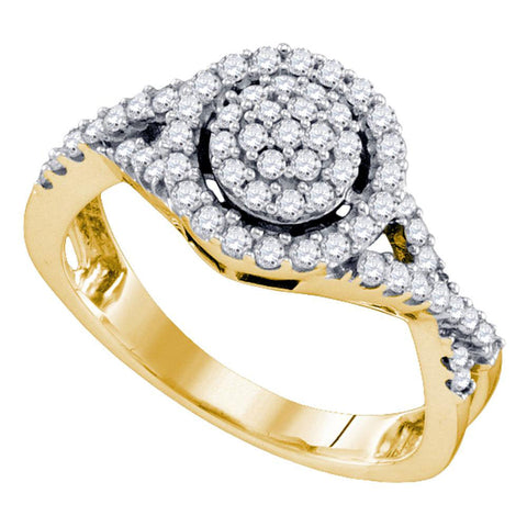 10kt Yellow Gold Womens Round Diamond Cluster Ring 1/2 Cttw