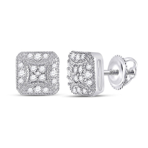 10kt White Gold Womens Round Diamond Beaded Square Cluster Earrings 1/4 Cttw