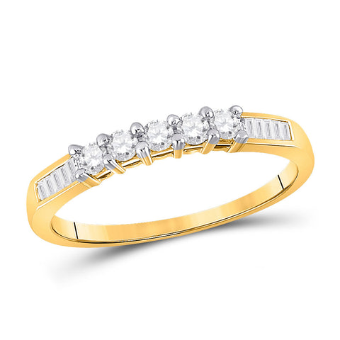 10kt Yellow Gold Womens Round Diamond Wedding 5-Stone Anniversary Band 1/3 Cttw