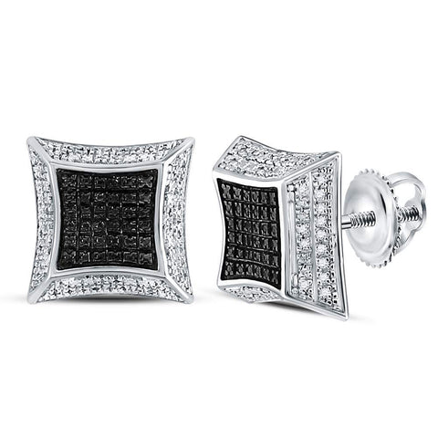 Sterling Silver Mens Round Diamond Flared Square Cluster Earrings 1/6 Cttw