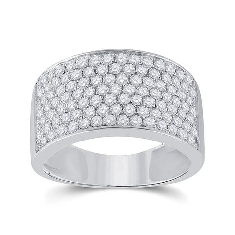 10kt White Gold Womens Round Diamond Pave Band Ring 1-1/2 Cttw