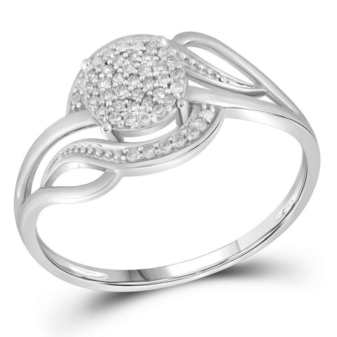 10kt White Gold Womens Round Diamond Cluster Ring 1/6 Cttw