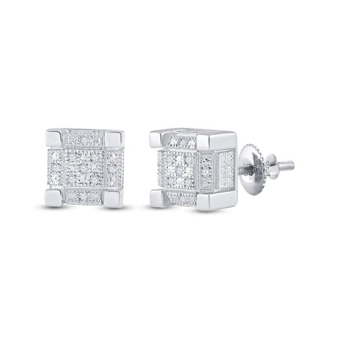 Sterling Silver Mens Round Diamond 3D Cube Square Earrings 1/20 Cttw
