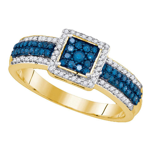 10kt Yellow Gold Womens Round Blue Color Enhanced Diamond Square Cluster Ring 1/2 Cttw