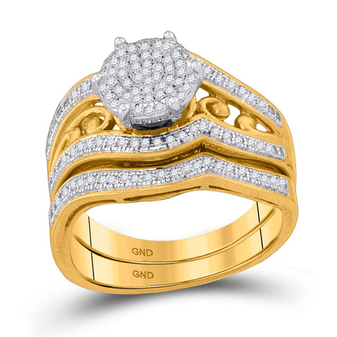 10kt Yellow Gold Round Diamond Bridal Wedding Ring Band Set 3/8 Cttw