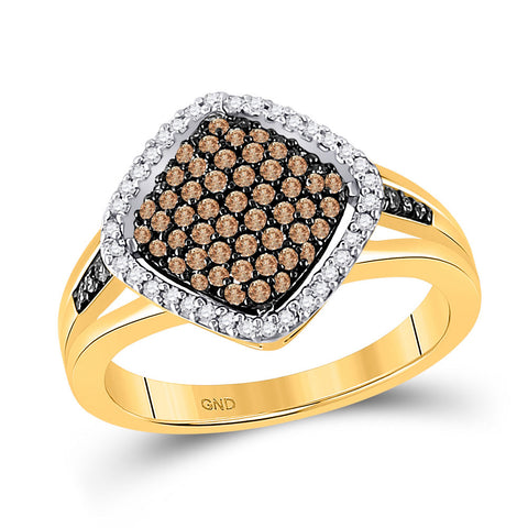 10kt Yellow Gold Womens Round Brown Diamond Cluster Ring 1/2 Cttw