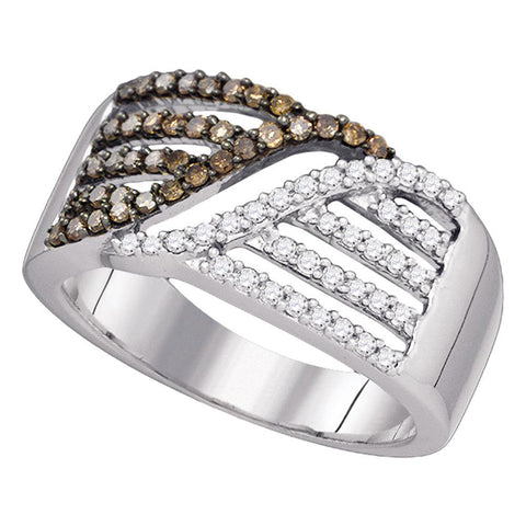 10kt White Gold Womens Round Brown Diamond Band Ring 1/2 Cttw