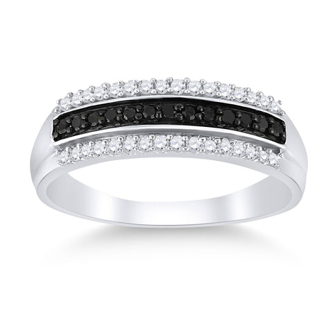 Sterling Silver Womens Round Black Color Enhanced Diamond Band Ring 1/4 Cttw