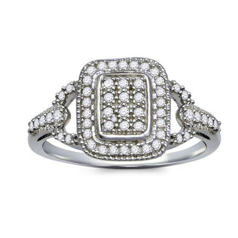 Sterling Silver Womens Round Diamond Rectangle Cluster Ring 1/4 Cttw