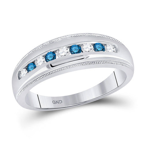 10kt White Gold Mens Round Blue Color Enhanced Diamond Wedding Band Ring 1/2 Cttw