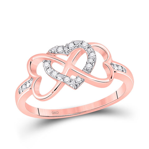 10kt Rose Gold Womens Round Diamond Triple Heart Infinity Ring 1/10 Cttw