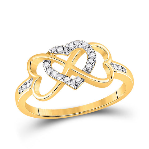 10kt Yellow Gold Womens Round Diamond Infinity Heart Ring 1/10 Cttw