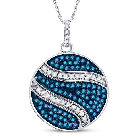 10kt White Gold Womens Round Blue Color Enhanced Diamond Circle Pendant 3/4 Cttw