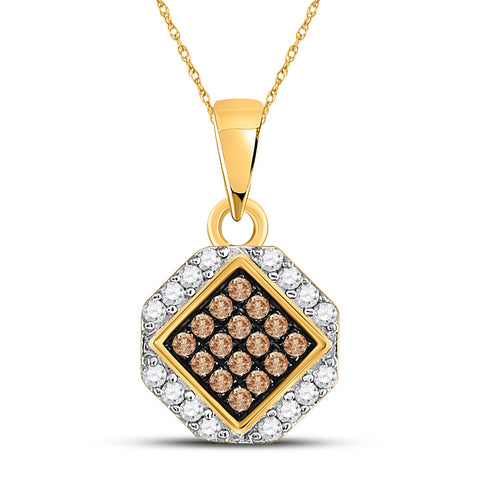 10kt Yellow Gold Womens Round Brown Diamond Diagonal Square Pendant 1/4 Cttw