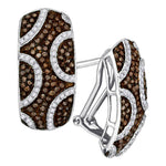 10kt White Gold Womens Round Brown Diamond Hoop Earrings 7/8 Cttw