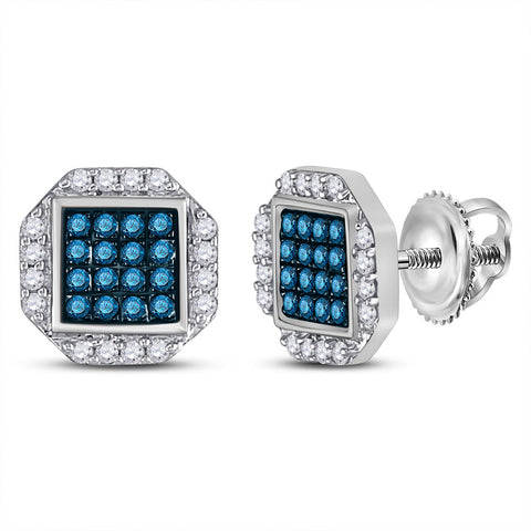 10kt White Gold Womens Round Blue Color Enhanced Diamond Cluster Earrings 3/8 Cttw