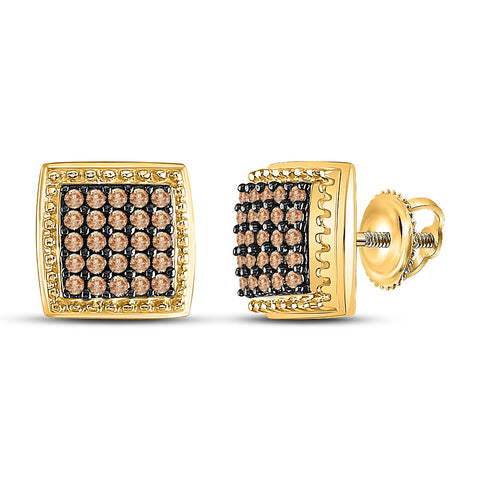 10kt Yellow Gold Womens Round Brown Diamond Square Cluster Earrings 1/2 Cttw