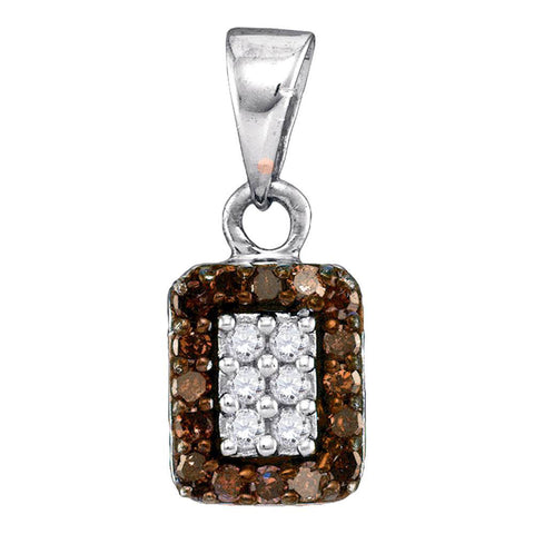 10kt White Gold Womens Round Brown Diamond Rectangle Cluster Pendant 1/5 Cttw