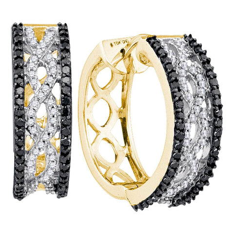 10kt Yellow Gold Womens Round Black Color Enhanced Diamond Hoop Earrings 3/4 Cttw