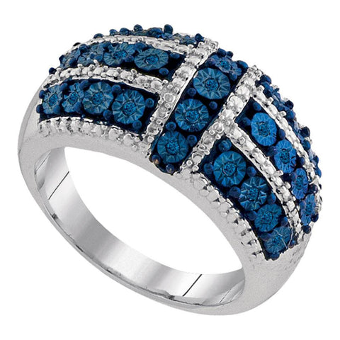 Sterling Silver Womens Round Blue Color Enhanced Diamond Fashion Ring 1/8 Cttw