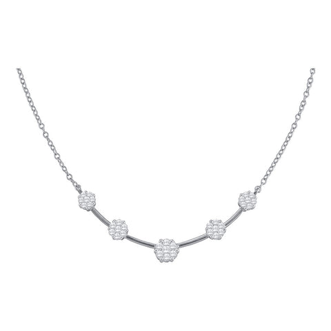 14kt White Gold Womens Round Diamond Cluster Necklace 1 Cttw