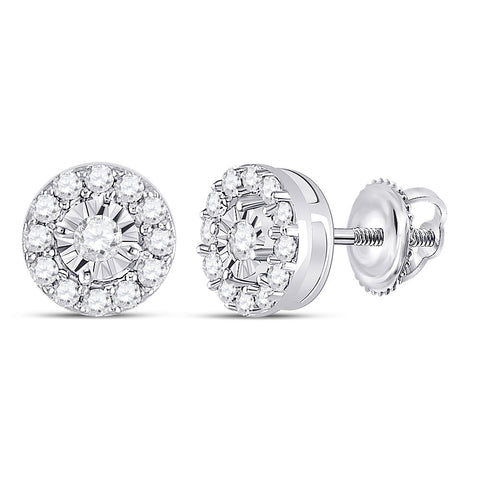 10kt White Gold Womens Round Diamond Stud Earrings 1/4 Cttw