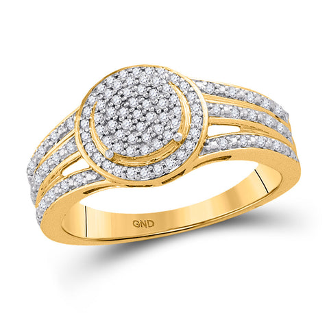 10kt Yellow Gold Womens Round Diamond Circle Frame Cluster Ring 1/4 Cttw