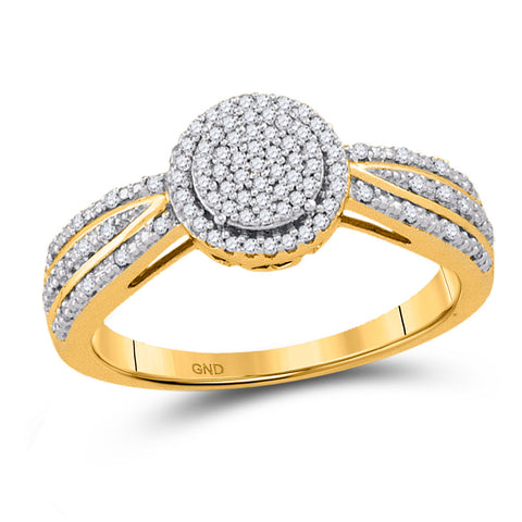10kt Yellow Gold Womens Round Diamond Circle Cluster Ring 1/5 Cttw