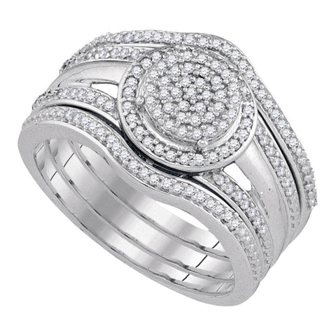 10kt White Gold Round Diamond Bridal Wedding Ring Band Set 1/3 Cttw