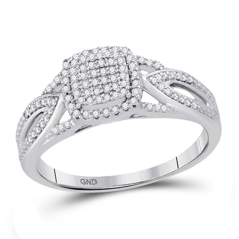 10kt White Gold Womens Round Diamond Square Cluster Ring 1/4 Cttw