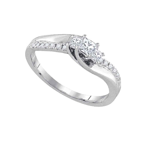 14kt White Gold Princess Diamond 3-stone Bridal Wedding Engagement Ring 1/3 Cttw