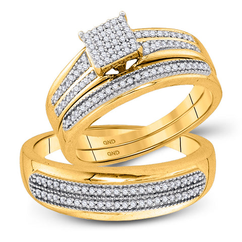 10kt Yellow Gold His Hers Round Diamond Square Matching Wedding Set 1/2 Cttw