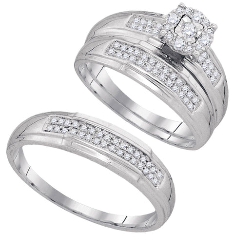 10kt White Gold His Hers Round Diamond Solitaire Matching Wedding Set 1/3 Cttw