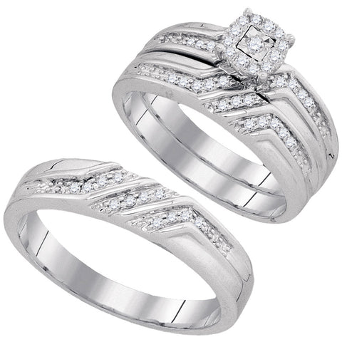 10kt White Gold His Hers Round Diamond Solitaire Matching Wedding Set 1/4 Cttw