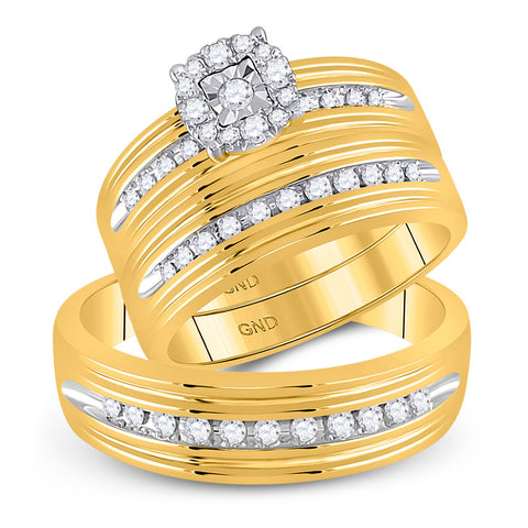 10kt Yellow Gold His Hers Round Diamond Solitaire Matching Wedding Set 3/8 Cttw